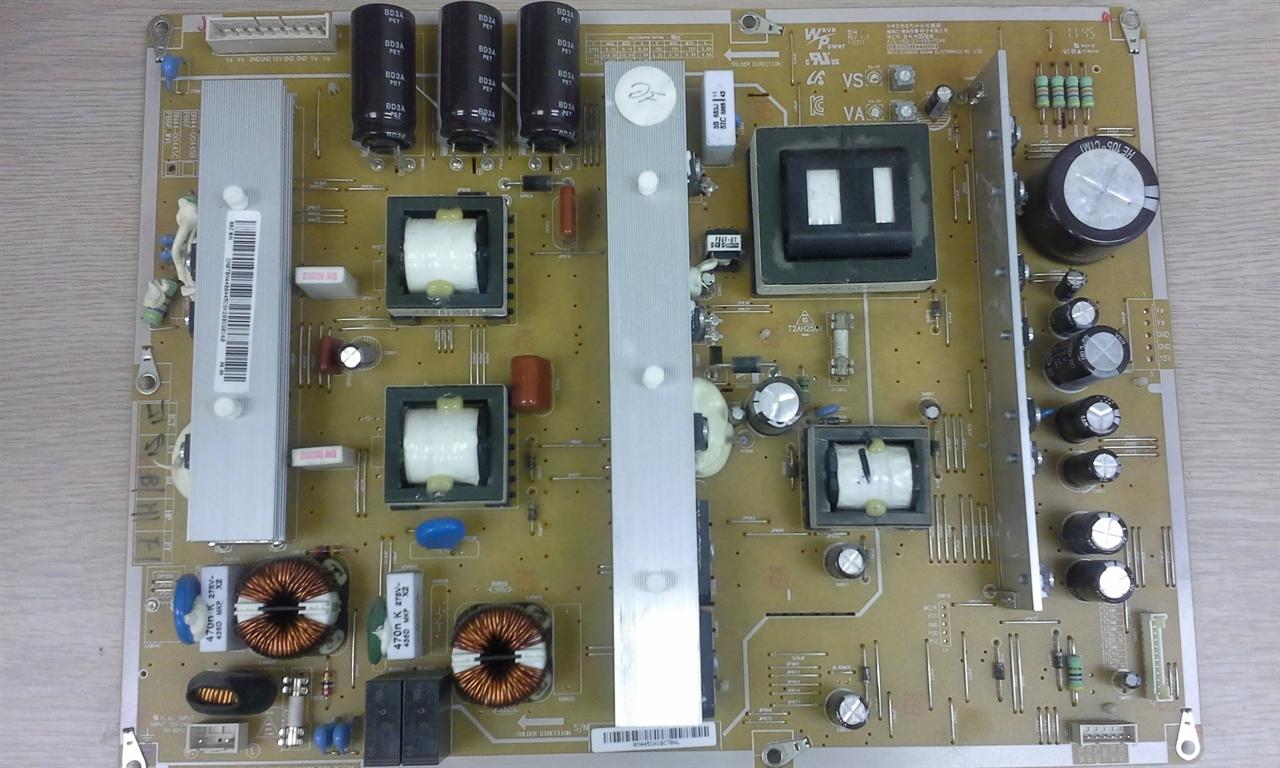 samsung tv power supply board. picture of samsung pn59d550c1fxza power supply board repair service for dead tv, intermitent shutdowns etc tv g
