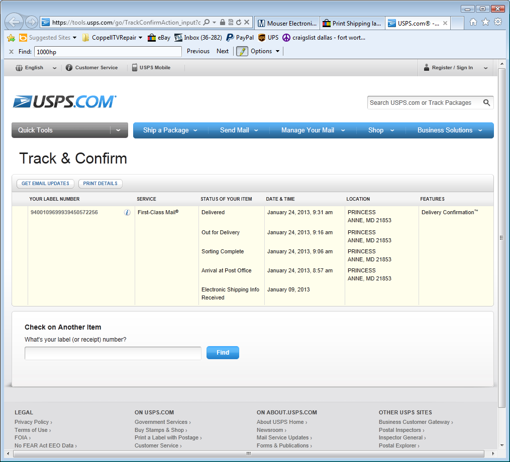 Coppell TV Repair online blog: USPS shipping delays and wait-instead